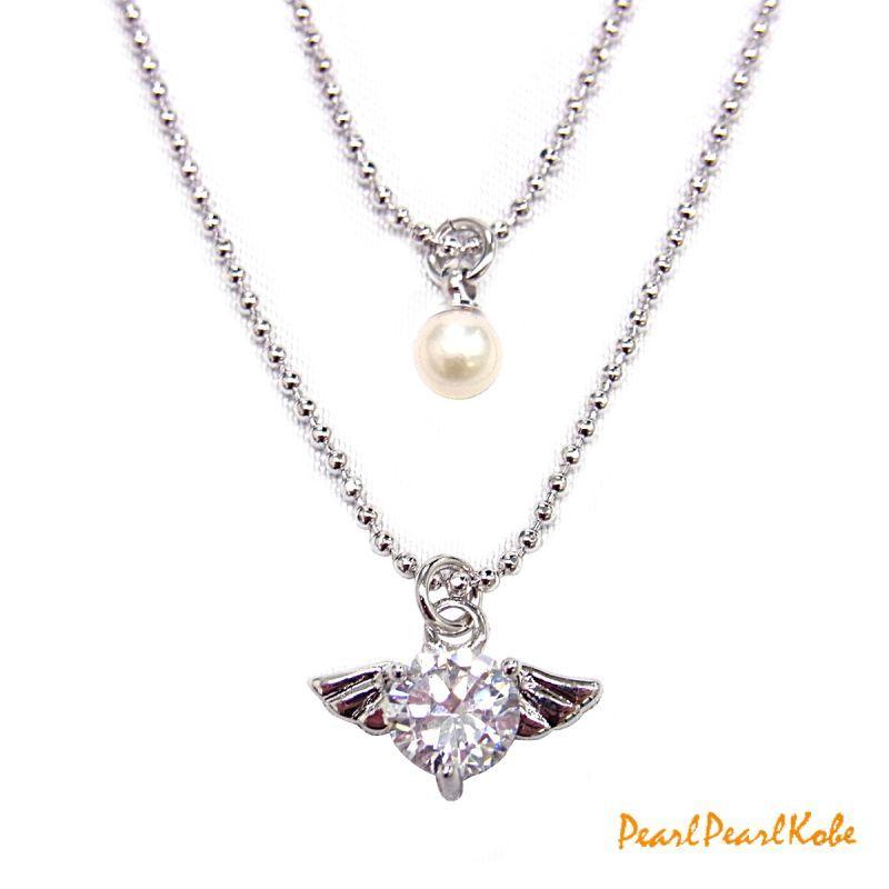 2連天使の羽&ベビーパールネックレス