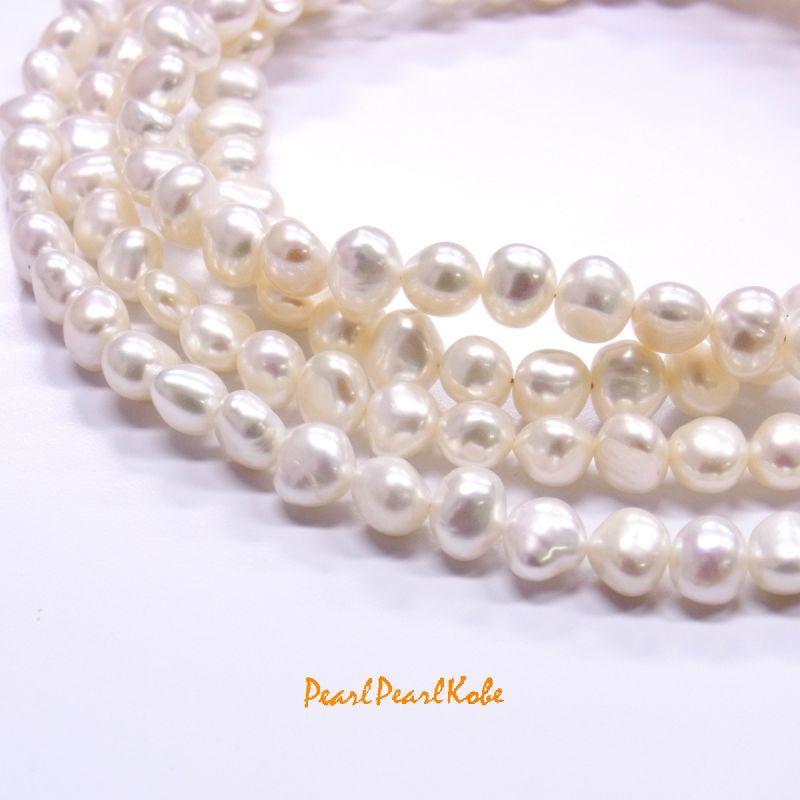 パールロングネックレス ホワイト バロック真珠