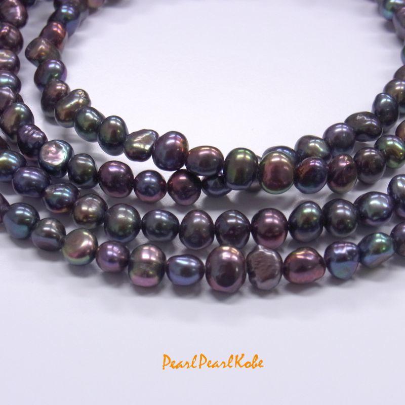 パールロングネックレス ブラック バロック真珠