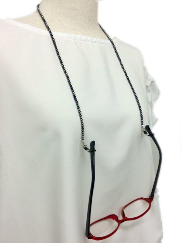 パールメガネチェーン ブラック ネックレス