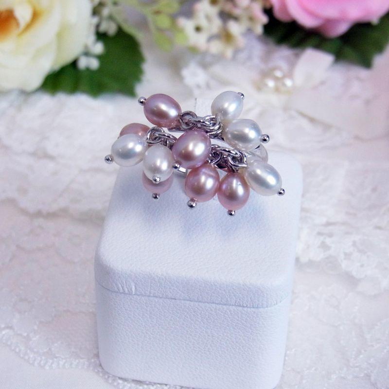 淡水真珠 パールリング ホワイトxピンク