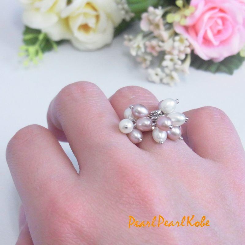 淡水真珠 パールリング ぴんくxホワイト フリーサイズ