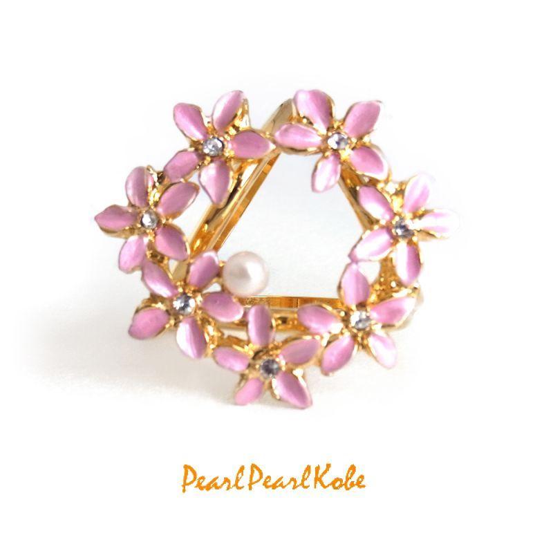 パールスカーフリング 花輪 ピンク