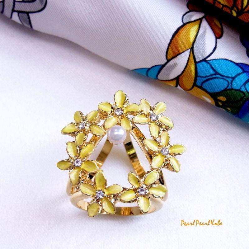 パールスカーフリング 花輪 黄色