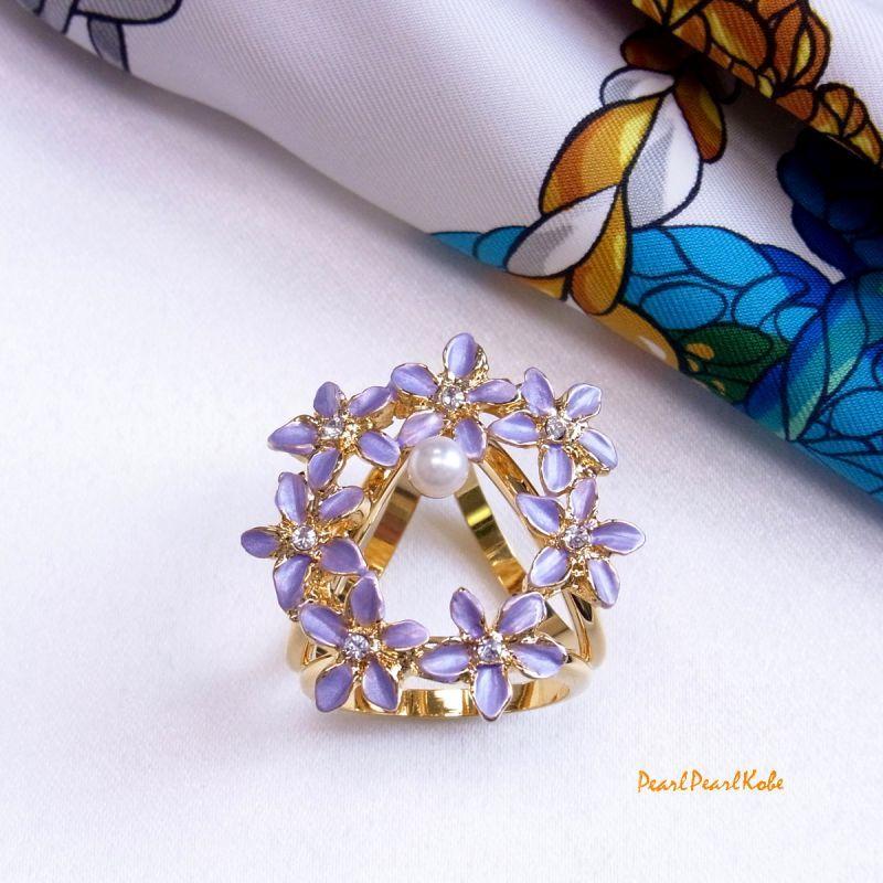 パールスカーフリング 花輪 紫
