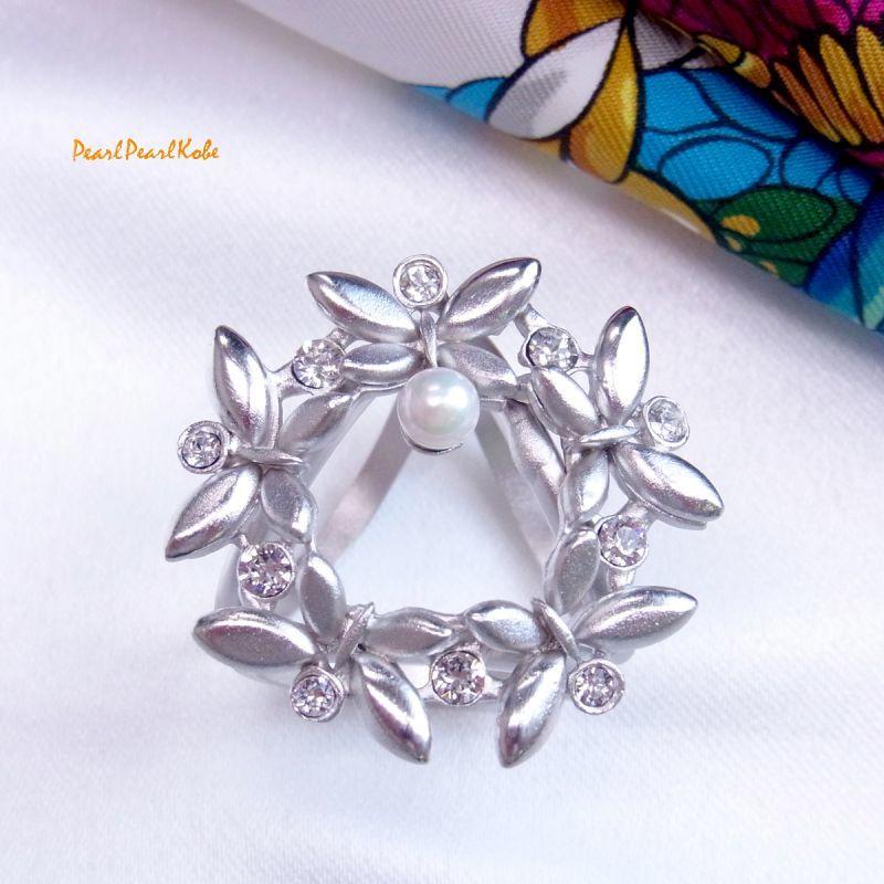 パールスカーフリング 蝶