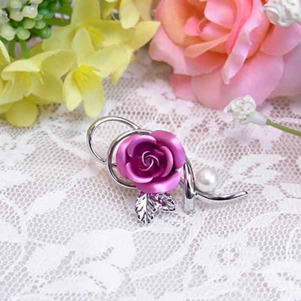 バラ ピンク パールブローチ