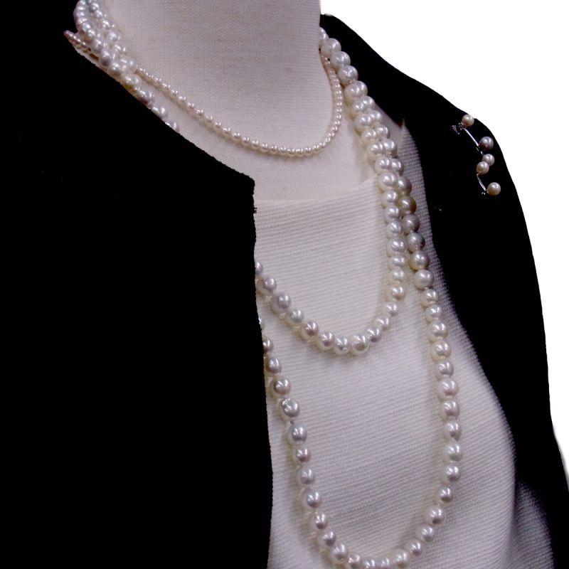 あこや真珠無調色 ネックレス パールブローチ