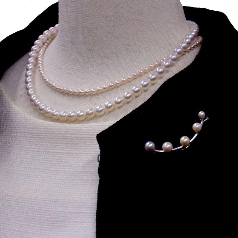あこや真珠ネックレス パールブローチ