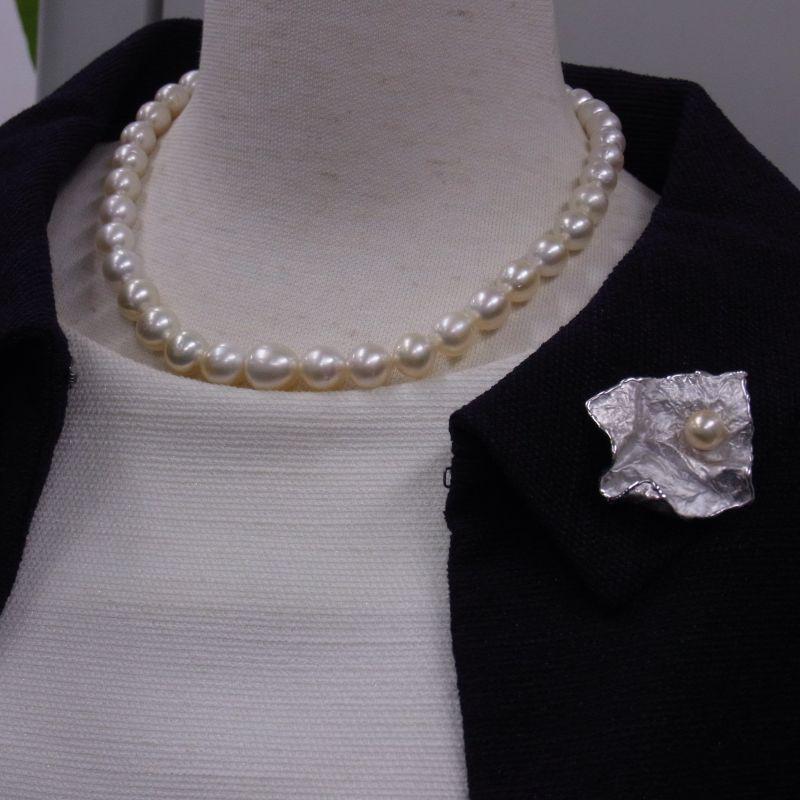 南洋真珠ネックレス パールブローチ