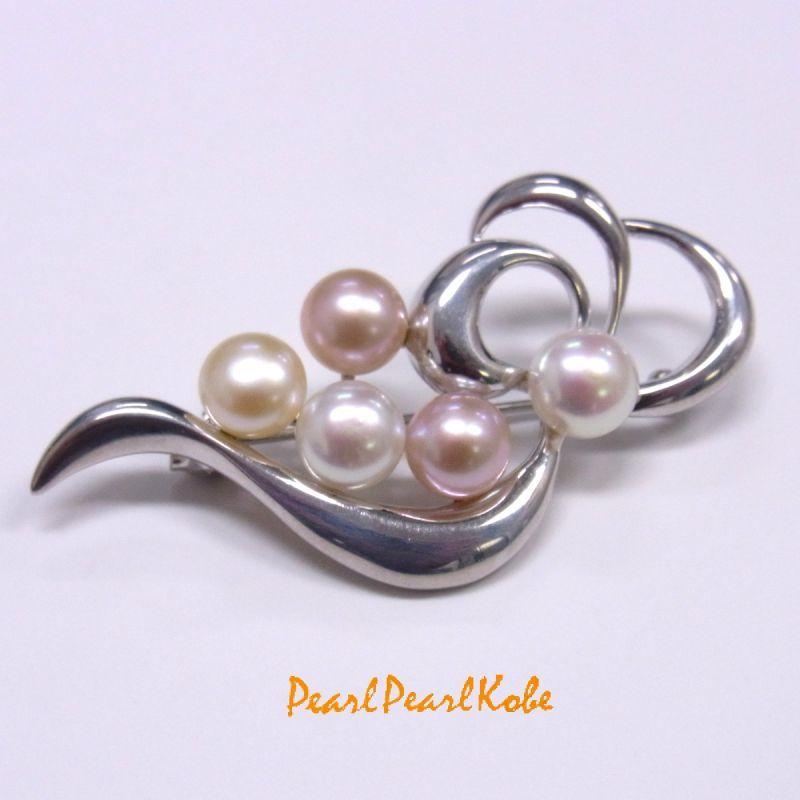 淡水真珠 マルチカラー シルバー製ブローチ