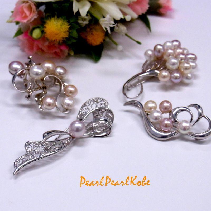 パールブローチ 淡水真珠 マルチカラー