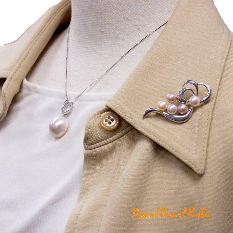 マベ真珠ネックレス 淡水パールブローチ