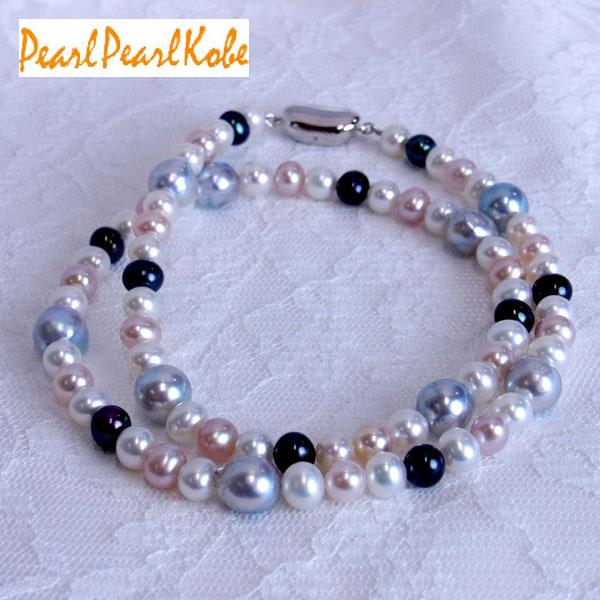 あこや真珠&淡水真珠ネックレス 50cm