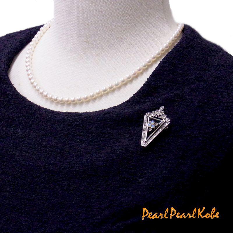 オニキスブローチ あこや真珠 ベビーパール5-5.5mm