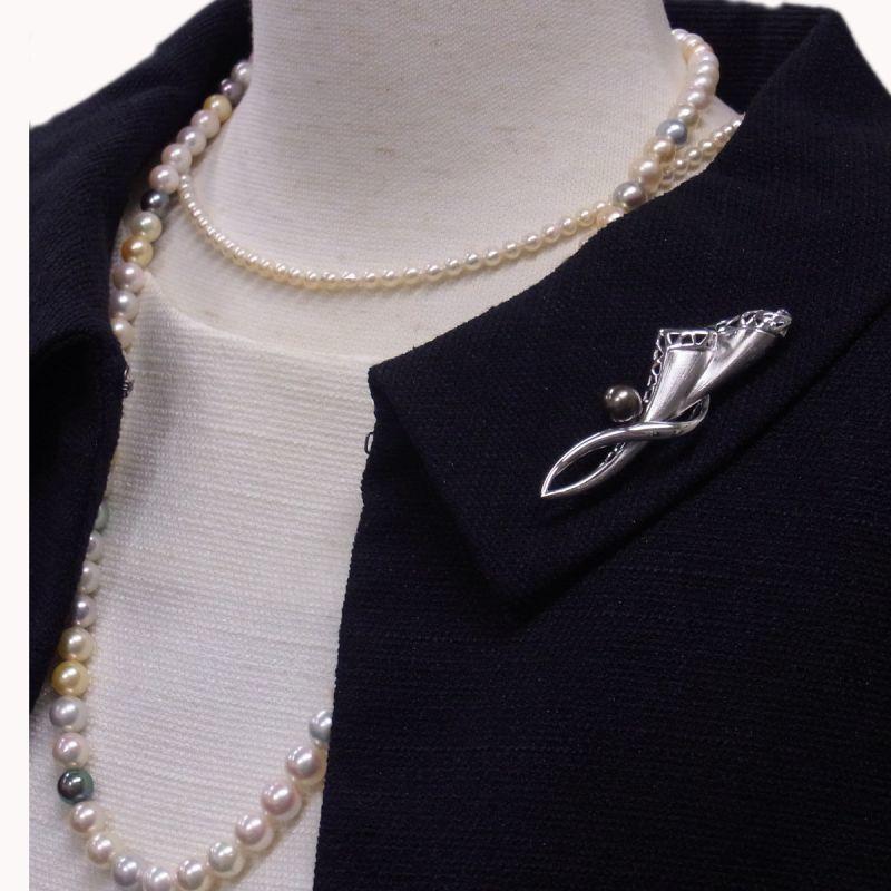 アコヤ真珠マルチカラーネックレス 黒真珠ブローチ