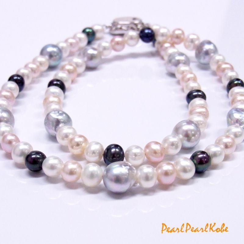 あこや真珠&淡水真珠マルチカラーネックレス