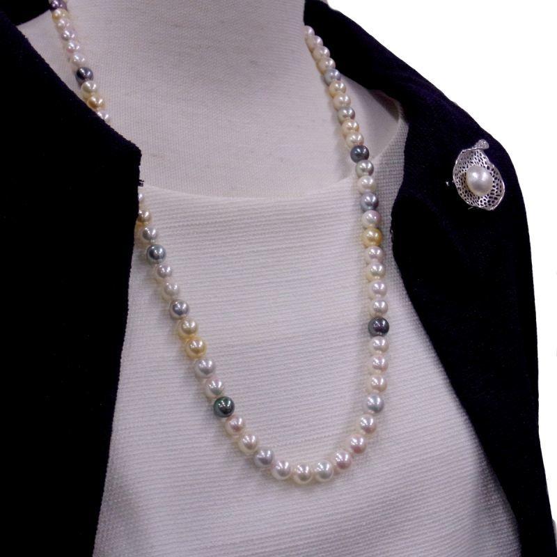 あこや真珠マルチカラーネックレス マベ真珠ブローチ