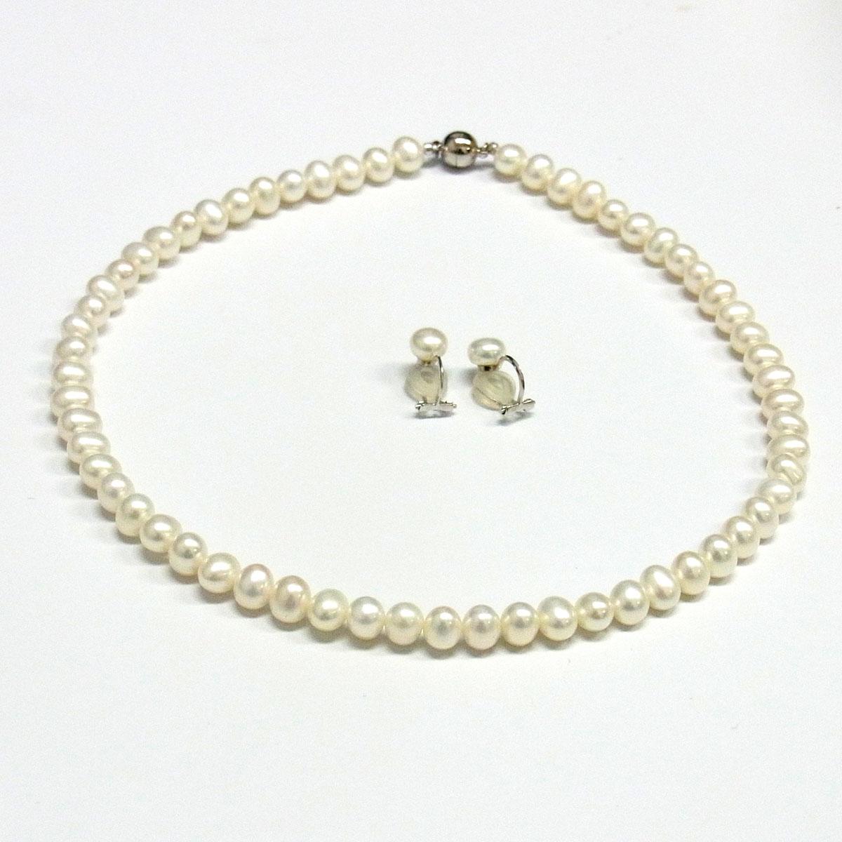 パールネックレス&イヤリングセット 淡水真珠