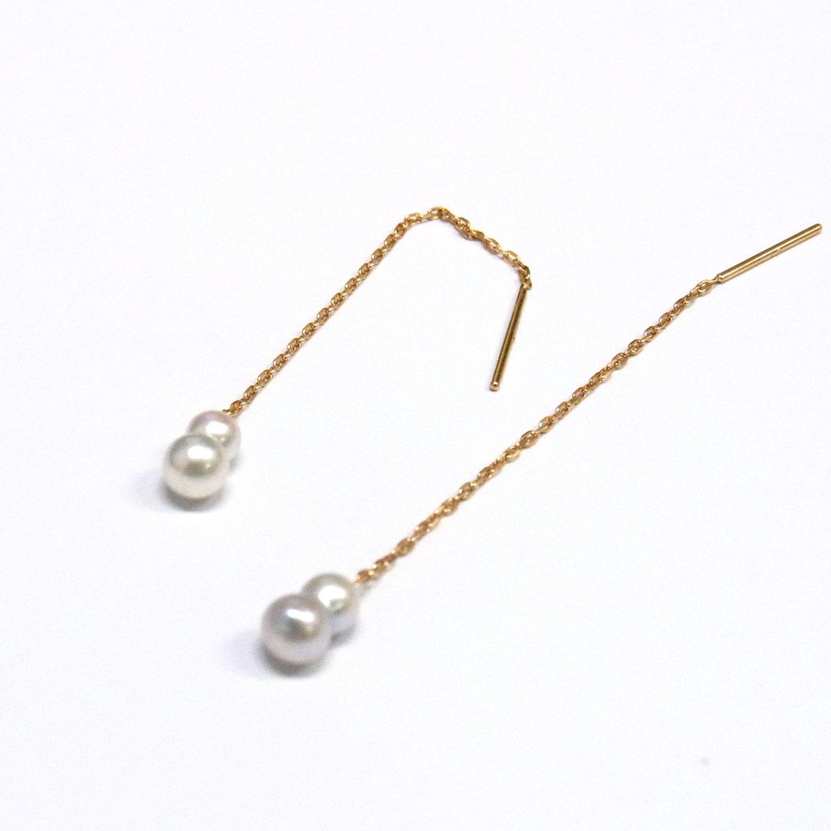 双子の真珠 パールピアス 極小