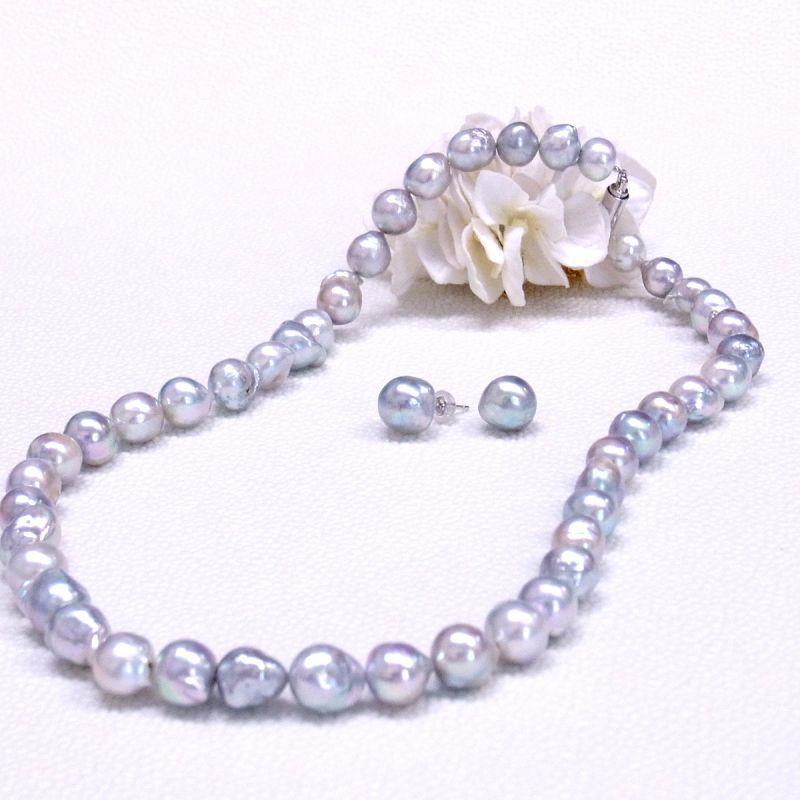 アコヤ本真珠 バロック ナチュラルグレーカラー ネックレス&ピアスセット