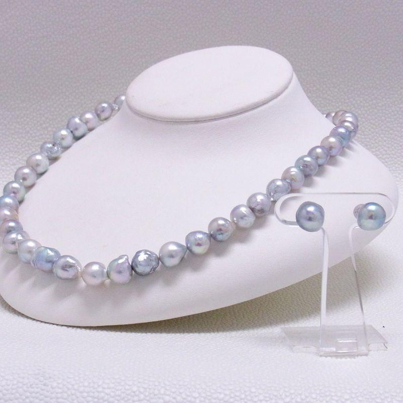 あこや真珠ネックレス&ピアスセット バロック