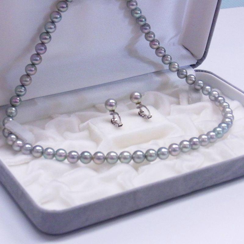 アコヤ真珠 グレー 7-7.5mm ラウンド ネックレスセット 装着
